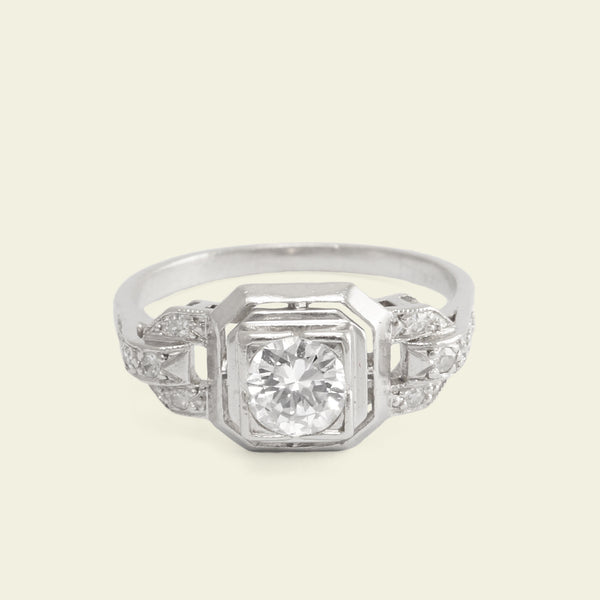 French Deco .40ct Diamond Engagement Ring with Coupled Shoulders