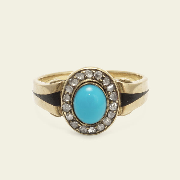 Victorian Turquoise and Diamond Cluster Ring with Enameled Shoulders