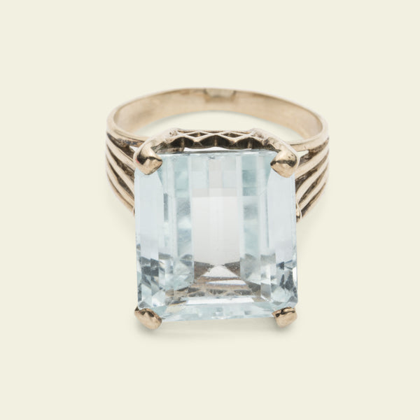 Massive Retro Aquamarine Cocktail Ring