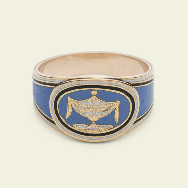 Georgian Blue Enamel Mourning Ring for George Penfold