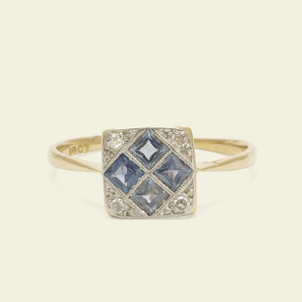 Diamond and Sapphire Quadrants Ring - Size 5 - 3rd Deposit - $145