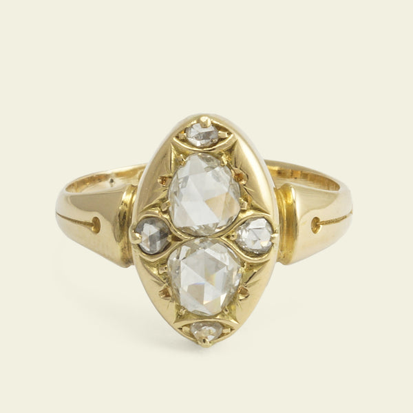 Victorian Toi et Moi Rose Cut Diamond Ring