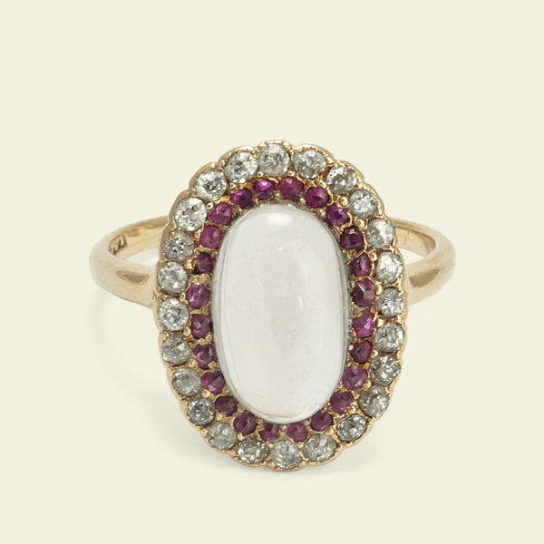 Edwardian Moonstone, Ruby, and Diamond Cluster Ring