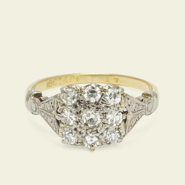 Edwardian Square Diamond Cluster Ring with Lotus Shoulders