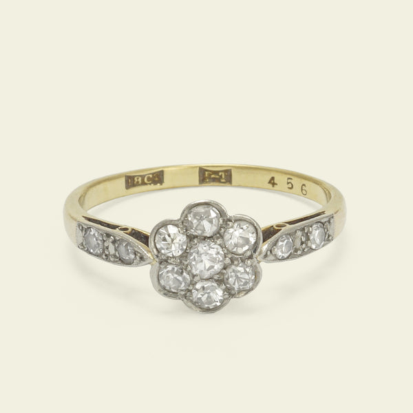 Two-Tone Floral Cluster Ring with Diamond Shoulders