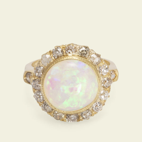Massive Edwardian Opal and Diamond Cluster Ring