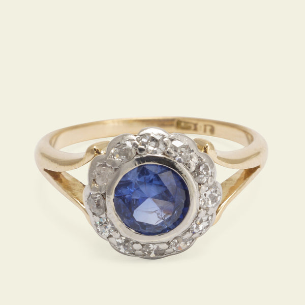 Split Shoulder Edwardian Sapphire and Diamond Cluster Ring