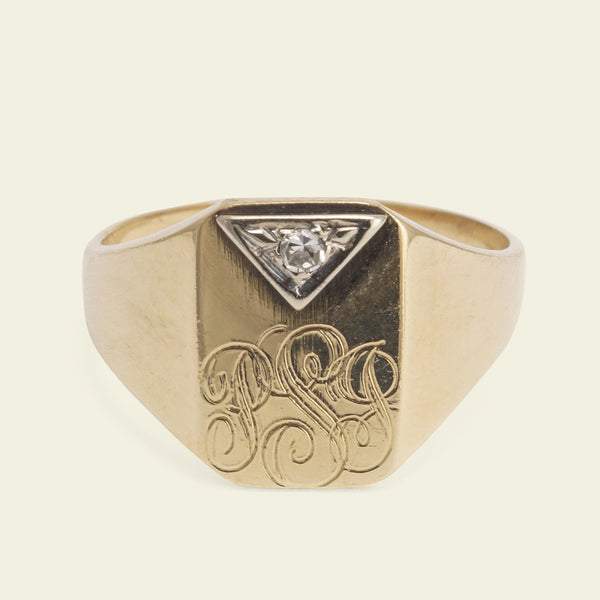 "1940s ""PJS"" Signet Ring with Diamond"