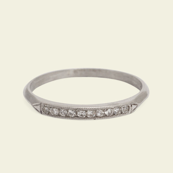 Platinum Knife Edge Ten Diamond Wedding Band