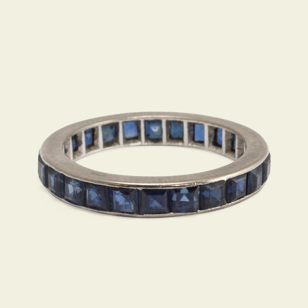 Vintage Platinum and Sapphire Eternity Ring