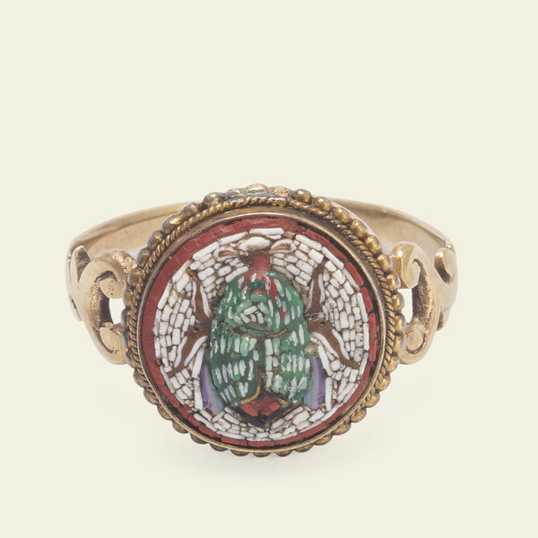 Victorian Scarab Micromosaic Ring