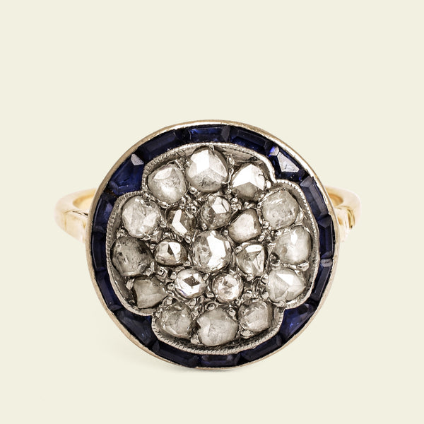 Belle Epoque Rose Cut Diamond and Sapphire Cluster Ring