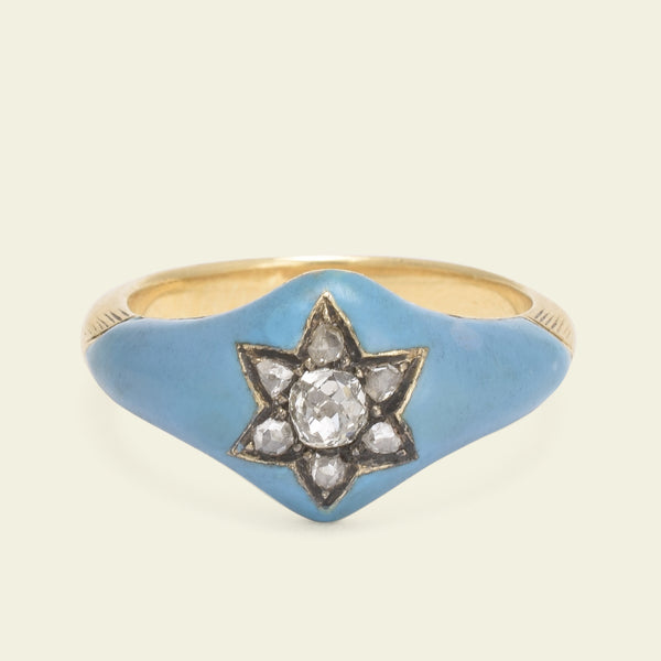 Victorian Blue Enamel and Diamond Star Ring