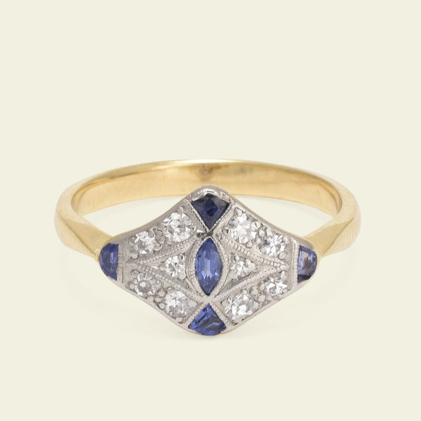 Deco Rhomboid Sapphire and Diamond Ring