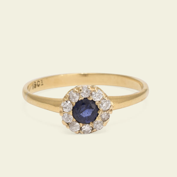 Edwardian Cluster Ring with .30ct Sapphire and Diamond Halo