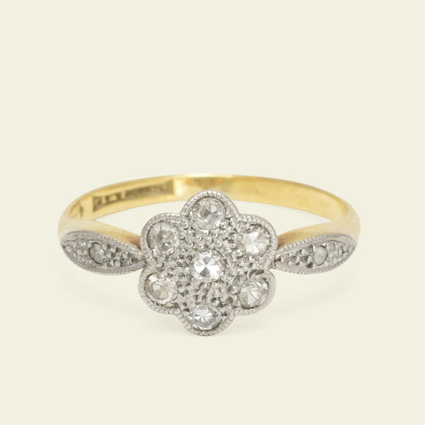 1920s Daisy Ring with Marquise Shoulders