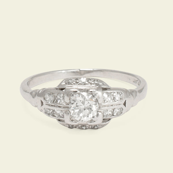 Late Deco Platinum .45ctw Diamond Cluster Ring