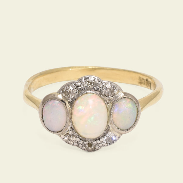 Three Opal Ring with Diamond Halo