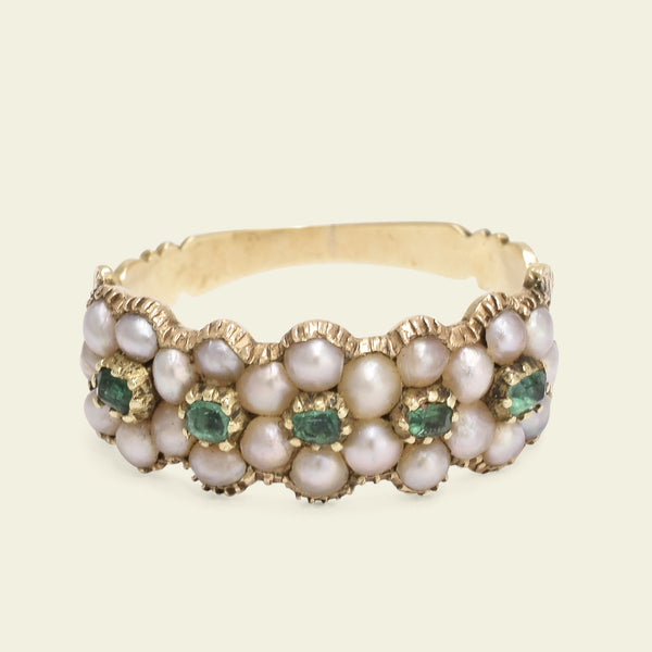 Late Georgian Pearl and Emerald Daisy Quintet Ring