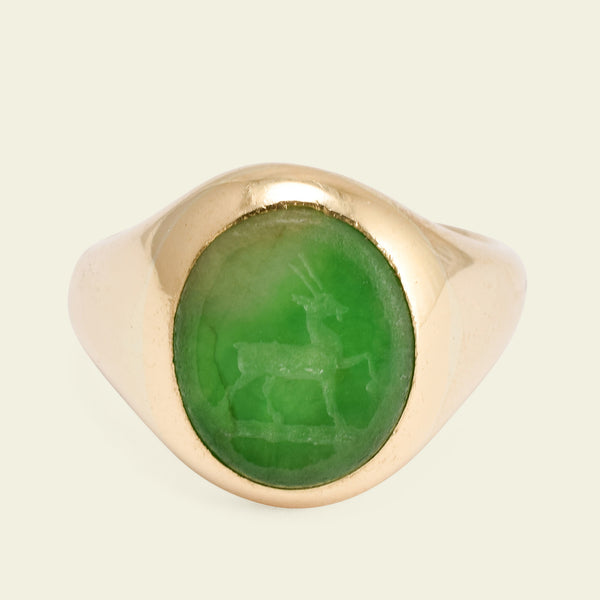 Edwardian Signet Ring with Jadeite Stag Intaglio