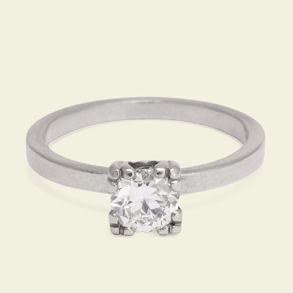 Vintage Palladium .53ct Transitional Cut Diamond Solitaire