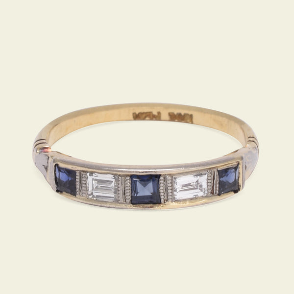 Diamond Baguette and Square Sapphire Wedding Band
