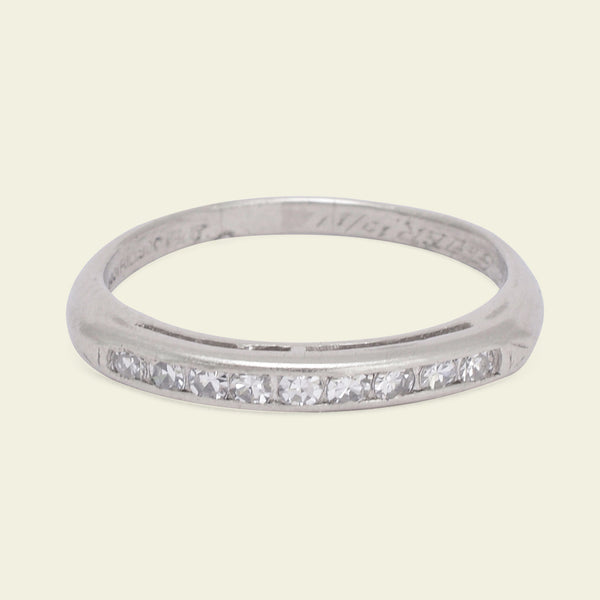 Deco Platinum 9 Diamond Wedding Band Size 6.25