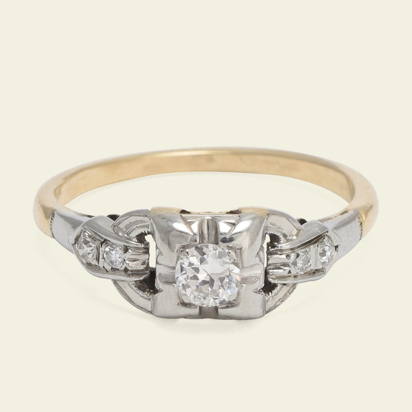 1940s Two Tone Diamond Engagment Ring with Linked Shoulders