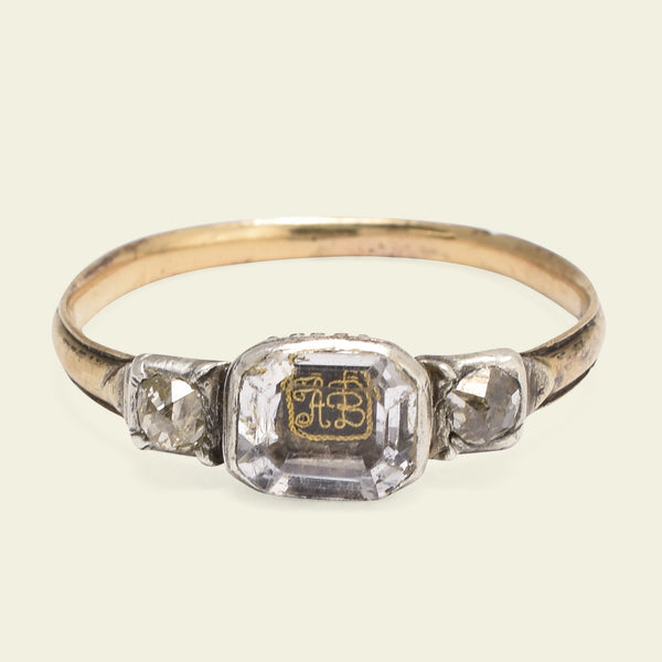 "Stuart Crystal Ring with ""AB"" Cipher and Old Mine Cut Diamonds"