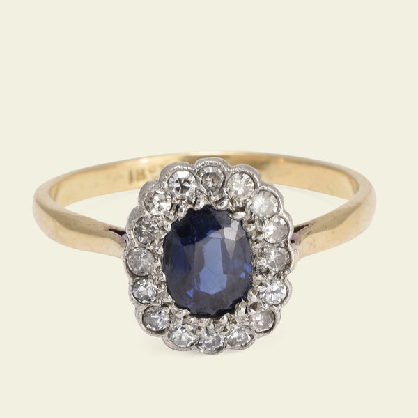 1920s .91ct Sapphire with Diamond Halo Cluster Ring