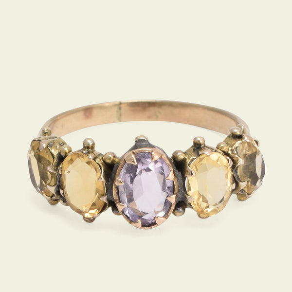 Victorian Amethyst and Citrine Five Stone Ring
