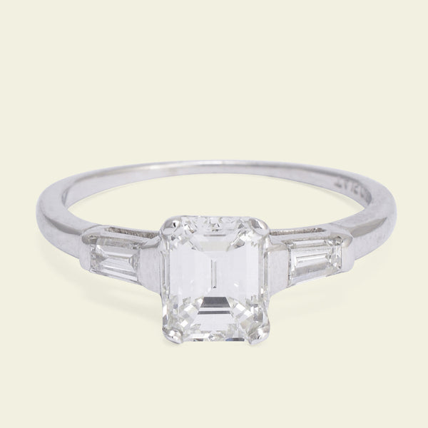 Vintage 1.14ct Emerald Cut Diamond Engagement Ring