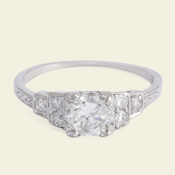 Deco .72ct Diamond Engagement Ring with Ziggurat Shoulders