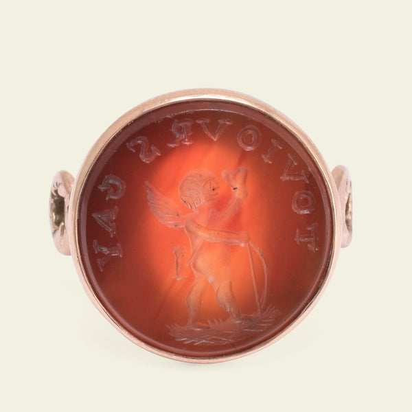 """Toujours Gay"" Cupid Carnelian Intaglio Ring"