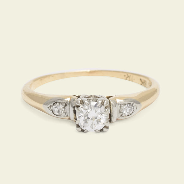Vintage Two Tone .25ct Diamond Ring with Petal Shoulders