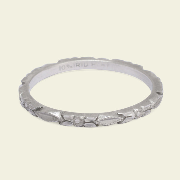 Deco Platinum Blossom and Leaves Eternity Pattern Wedding Band