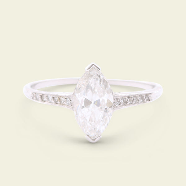 1.03ct Marquise Brilliant Diamond Engagement Ring
