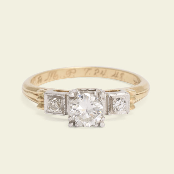 1940s Two Tone .60ct Transitional Cut Diamond with Scrolled Shoulders