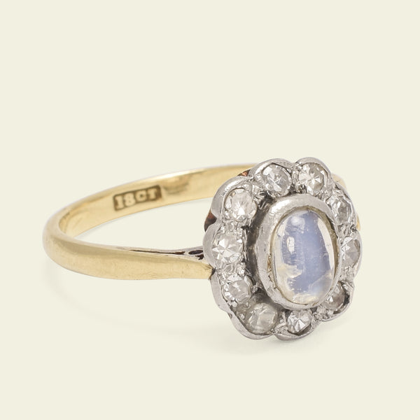 Edwardian Moonstone and Diamond Cluster Ring