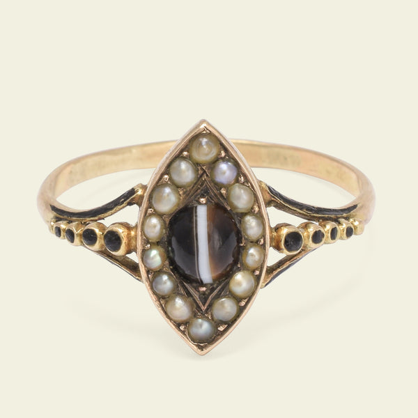 Victorian Banded Agate and Seed Pearl Navette Ring