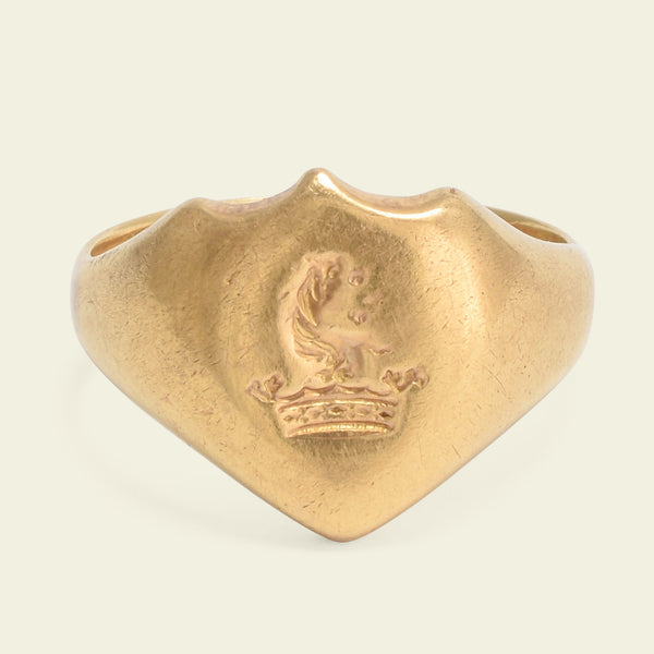 Victorian Ducal Coronet and Heraldic Beast Signet Ring