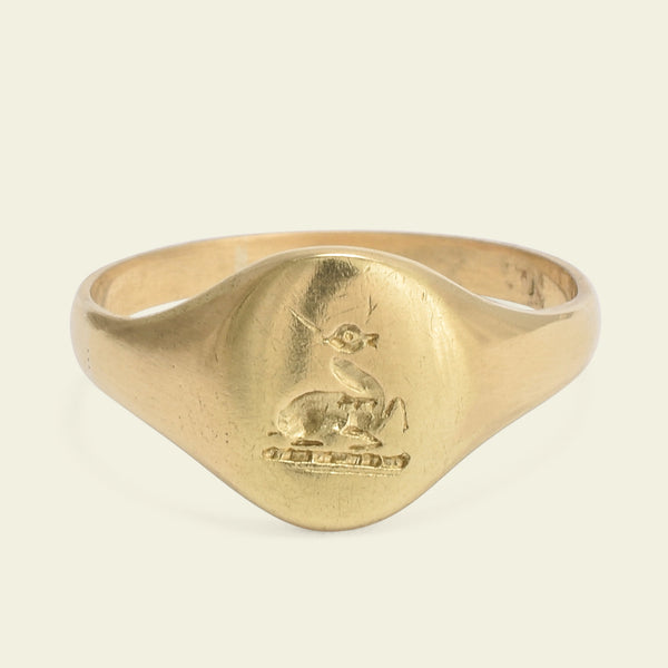 Victorian Signet Ring with Stag Couchant