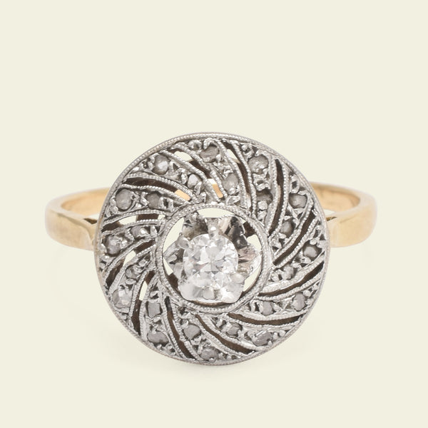 French Art Deco Diamond Spiral Ring
