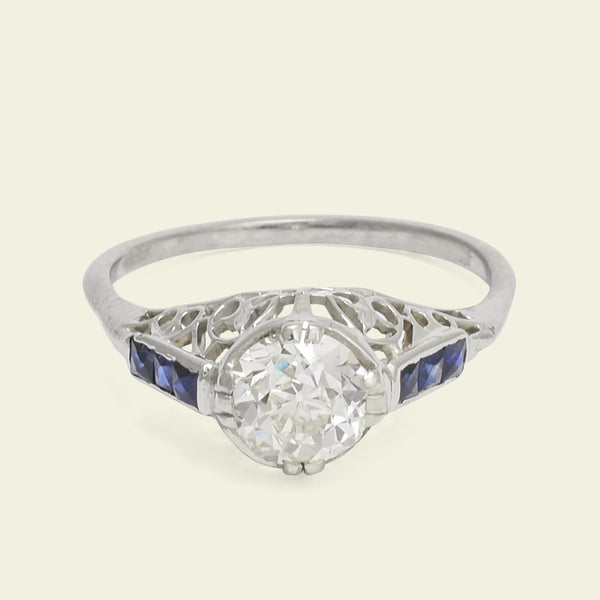 Deco .83ct Old Mine Cut Diamond Filigree Engagement Ring with French Cut Sapphires