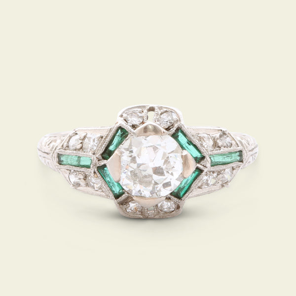 Art Deco Platinum .76ct Diamond Engagement Ring with Synthetic Emerald Accents