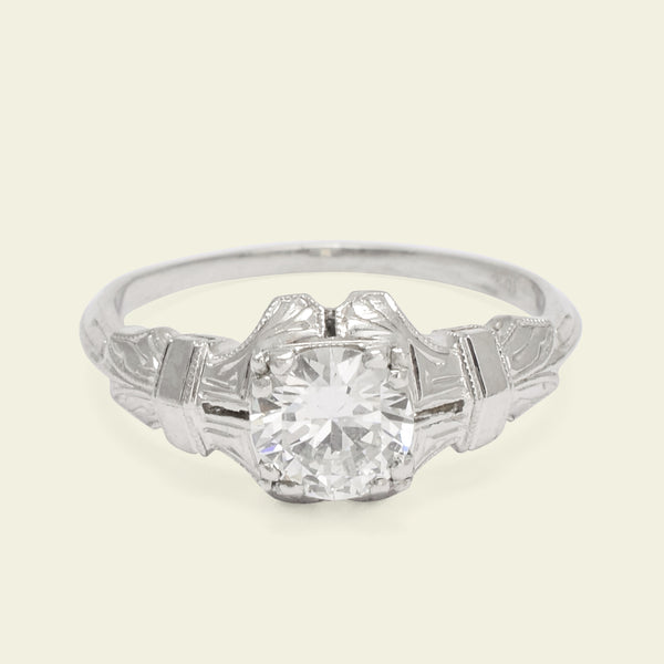 Art Deco Platinum .69ct Diamond Clutch Engagement Ring