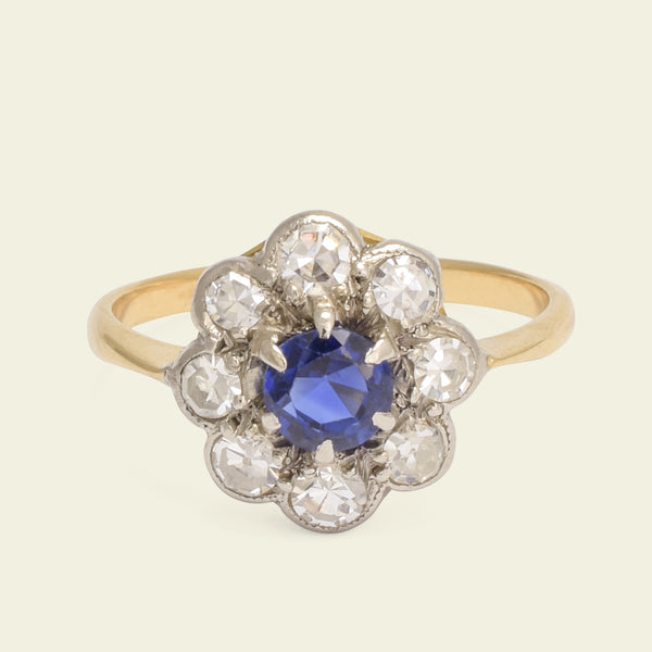 1920s Sapphire and Diamond Cluster Ring