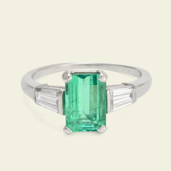 Vintage 1.2ct Emerald and Diamond Baguette Engagement Ring