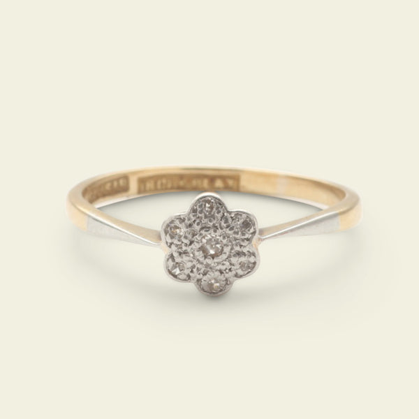 Petite Floral Diamond Cluster Ring