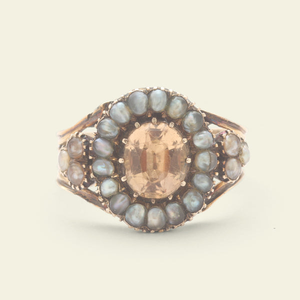 Georgian Topaz and Pearl Cluster Ring